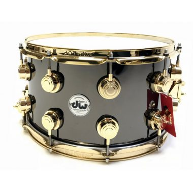 DW Collector's 14x8in Black Nickel Brass with Gold Hardware Snare