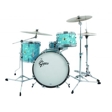 Gretsch USA Custom 4pc Shell Pack – Aqua Satin Flame