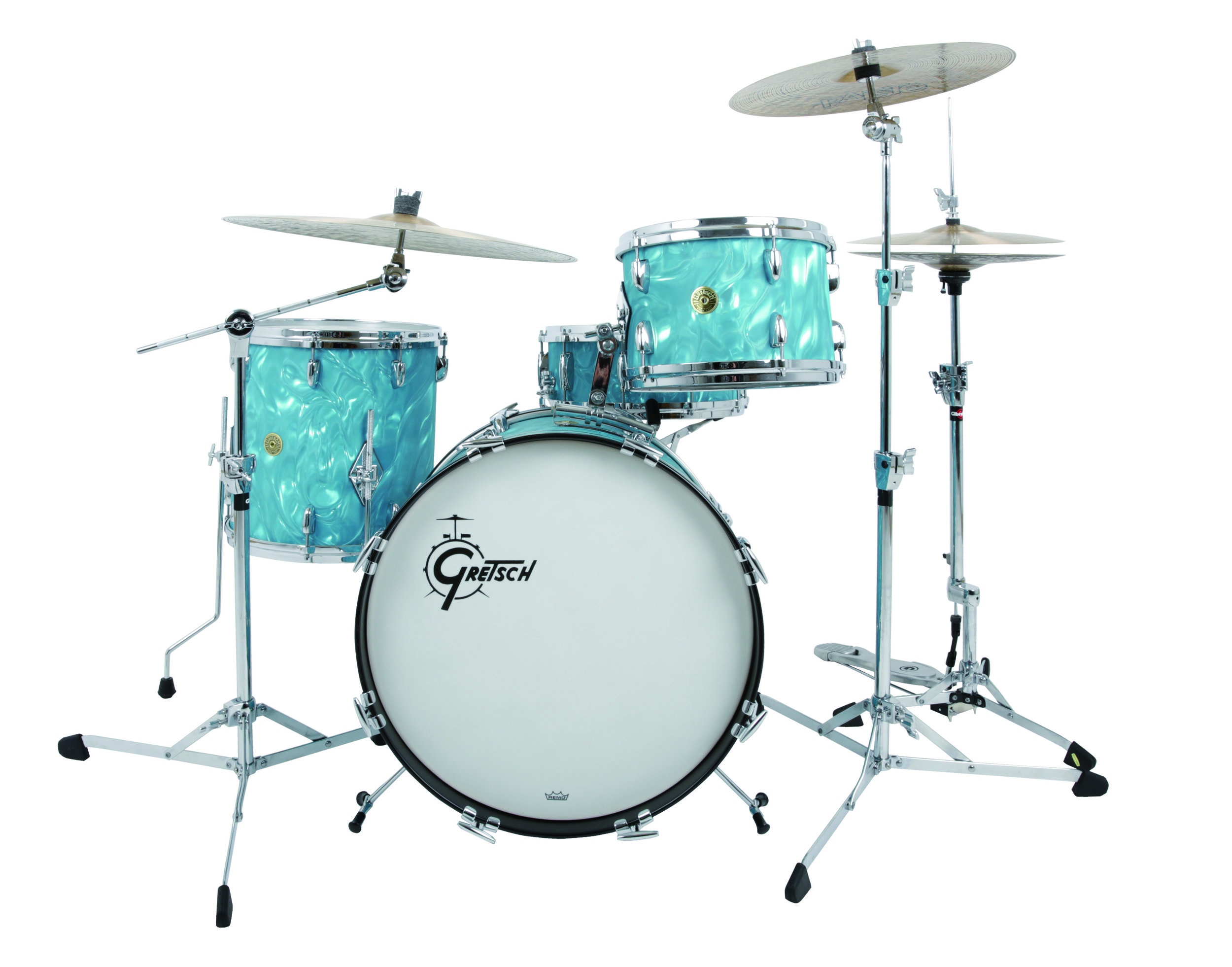 gretsch usa custom 4pc shell pack aqua satin flame drummers only. Black Bedroom Furniture Sets. Home Design Ideas