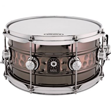 Natal 13x7in Beaded Steel Cafe Racer Snare Drum – WITH FREE CASE!