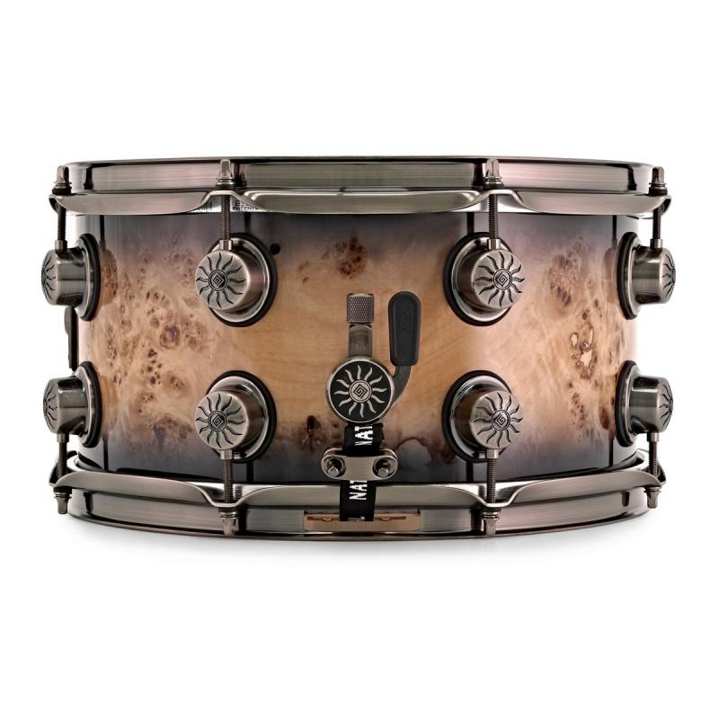 Natal 13x7in Originals Mappa Burl Snare Drum – Smoked Black Gloss