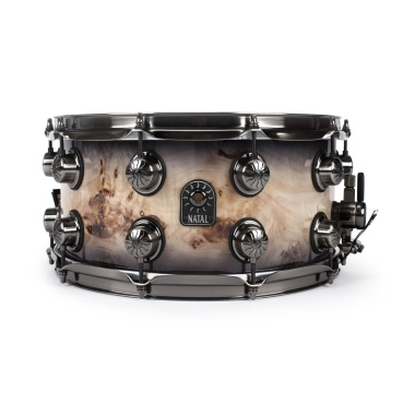 Natal 14x7in Originals Mappa Burl Snare Drum – Black Smoked Gloss – WITH FREE CASE!