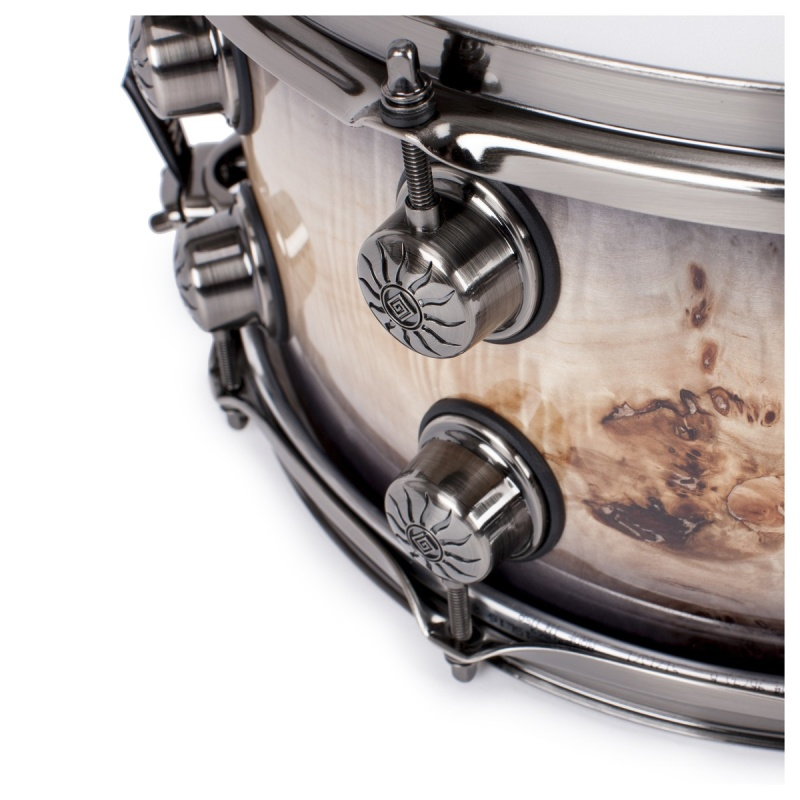 Natal 14x7in Originals Mappa Burl Snare Drum – Black Smoked Gloss