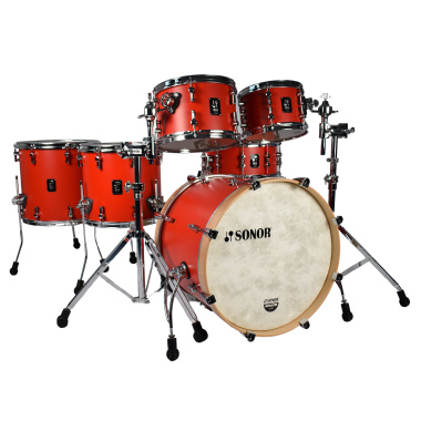 Sonor SQ1 Series 20in 6pc Shell Pack with Snare & Two Floor Toms – Hot Red