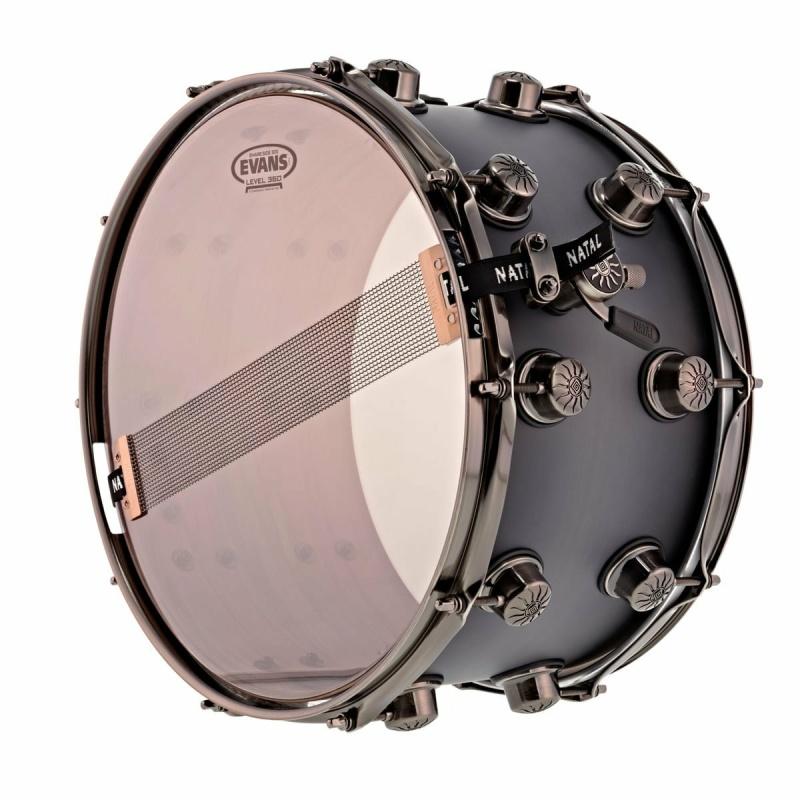 Natal Originals Walnut/Maple 13×6.5in Snare Drum – Black Burst Pewter Grain – WITH FREE CASE!