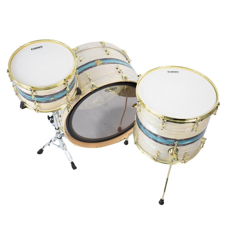 SJC Drums Custom 24in 3pc Mahogany Shell Pack – Stripe White Ripple