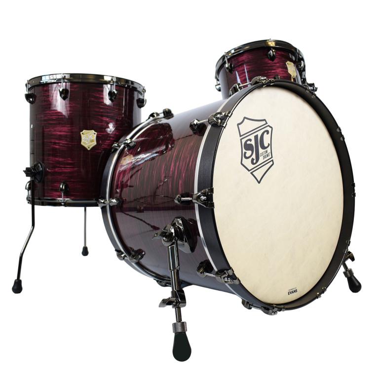 SJC Drums Providence 3pc 22in Shell Pack – Merlot Ripple w/ Black Nickel Hardware