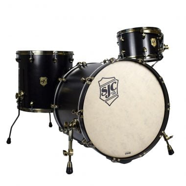 SJC Tour Series 3pc 22in Shell Pack – Black Satin Stain with Antique Brass Hardware