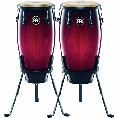 Meinl 11/12in Wood Congas W/Basket Stands – Wine Red Burst
