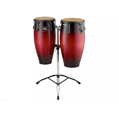 Meinl 11/12in Wood Congas set W/Double Stand – Wine Red Burst