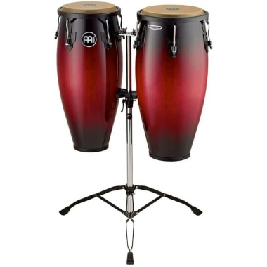 Meinl 10/11in Wood Congas set W/Double Stand – Wine Red Burst