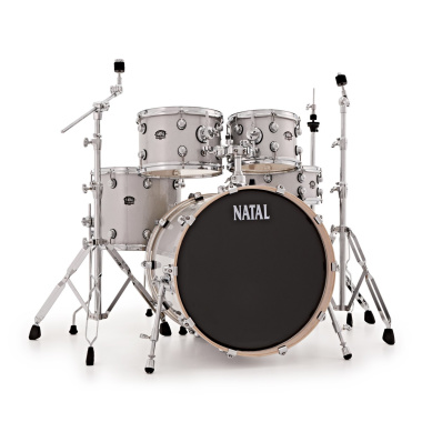 Natal Arcadia 5pc 20in Drum Kit W/ Hardware – White Sparkle