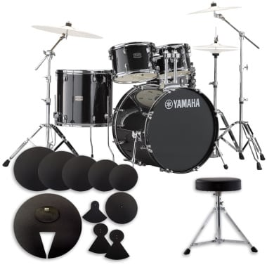 Yamaha Rydeen 22in 5pc Drum Kit BUNDLE – Black Glitter With Cymbals, QT Silencer Set & Throne