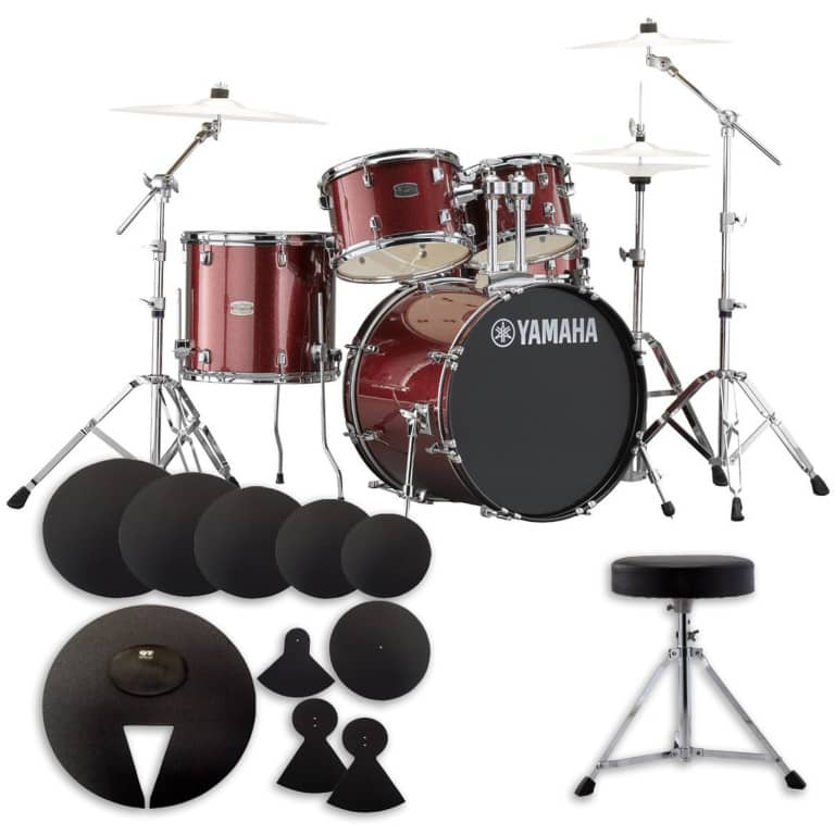 Yamaha Rydeen 22in 5pc Drum Kit BUNDLE – Burgundy Glitter With Cymbals, Silencer Set & Throne