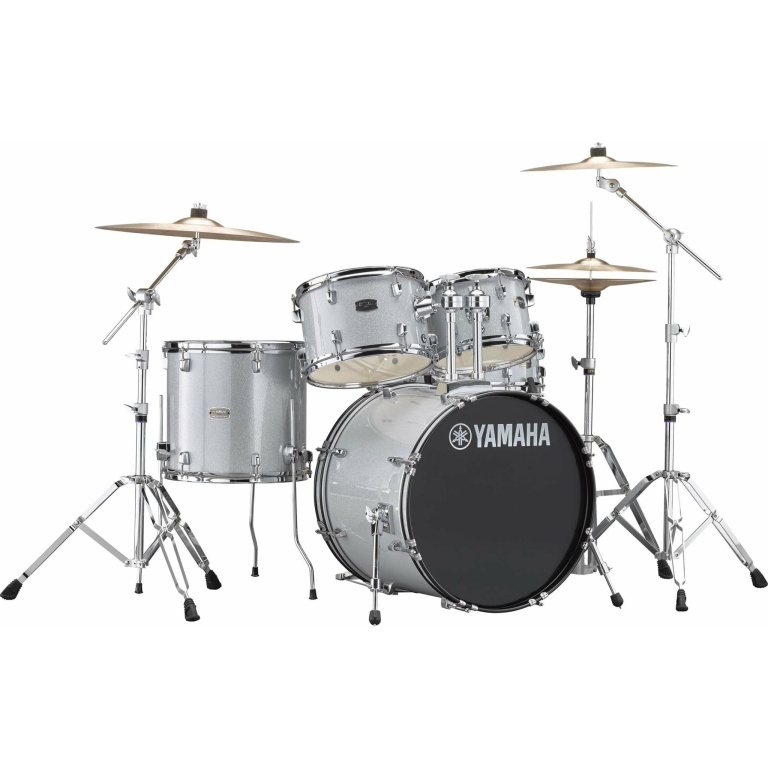 Yamaha Rydeen 22in 5pc Drum Kit BUNDLE – Silver Glitter With Cymbals, QT Silencer Set & Throne