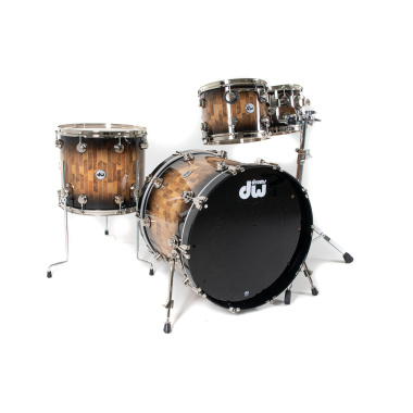 DW Collectors Exotic 22in 4pc Shell Pack – Candy Black Burst Over Olive Ash Pinstripe