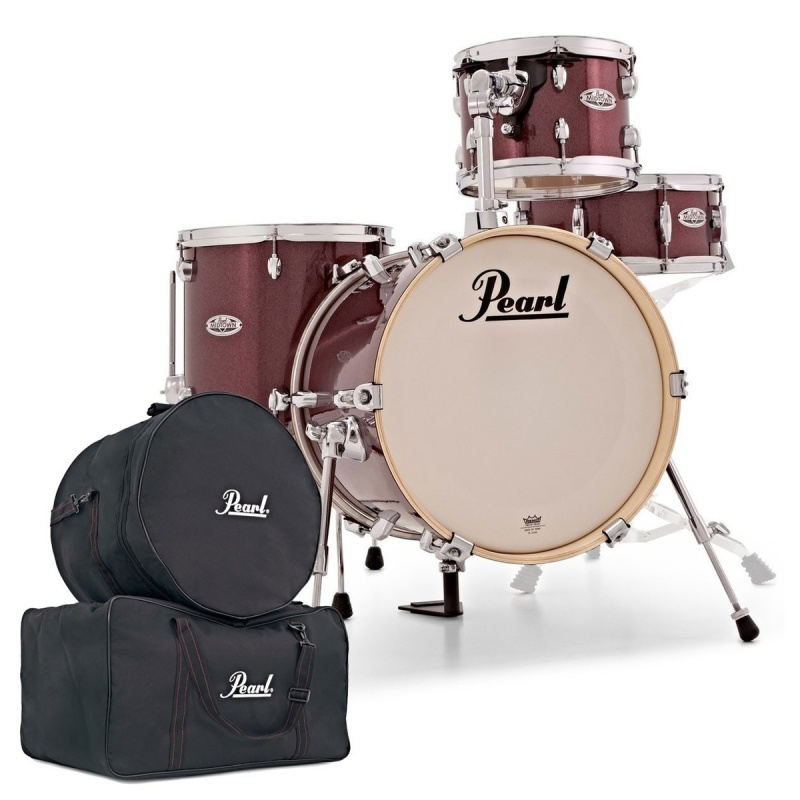 Pearl Midtown 4pc Shell Pack & Bag Set Bundle – Black Cherry Glitter