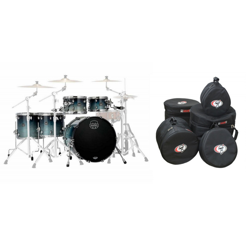 Mapex Saturn 22in 5pc Short Stak Shell Pack & Protection Racket Cases