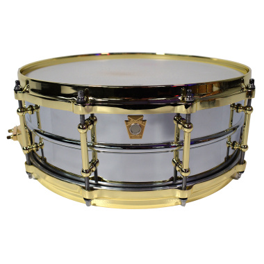 Ludwig 14x5in Chrome Over Brass Snare w/Brass Hardware – Pre-owned