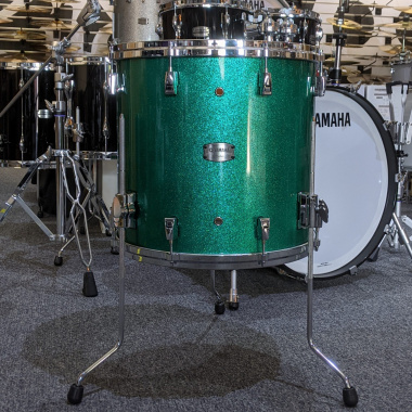 Yamaha Absolute Maple Hybrid 16x15in Floor Tom, Jade Green Sparkle – Pre-owned