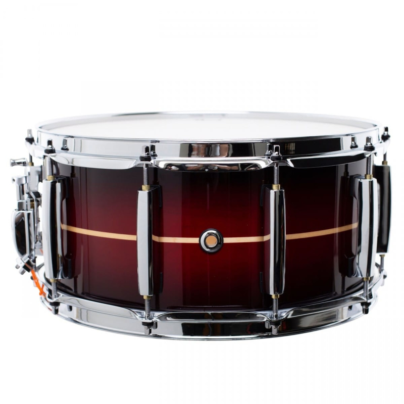 Pearl Masters Maple Complete 14×6.5in Snare – Red Stripe Burst