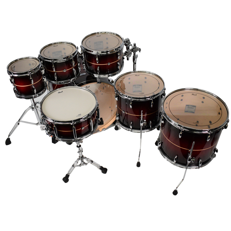 Pearl Masters Maple Complete 22in 7pc Shell Pack – Red Stripe Burst