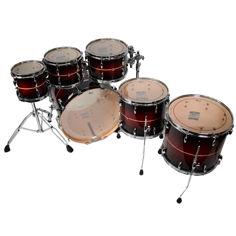 Pearl Masters Maple Complete 22in 6pc Shell Pack – Red Stripe Burst