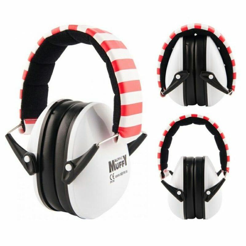 Alpine Earmuffs For Kids – White/Red
