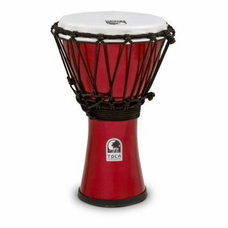 Toca 7in Freestyle Colorsound Djembe, Rope Tuned, Met. Red