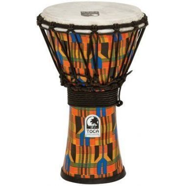 Toca 7in Synergy Freestyle Djembe, Rope Tuned, Kente Cloth