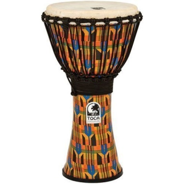 Toca 9in Synergy Freestyle Djembe, Rope Tuned, Kente Cloth